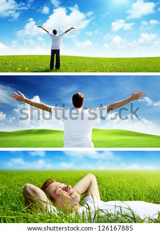 happy man on spring field, set of banners - stock photo