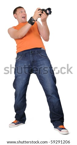 Happy man photographer with camera isolated on withe background - stock photo
