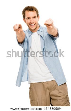 happy man pointing white background - stock photo