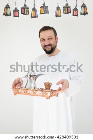 Happy man ready for Ramadan - stock photo