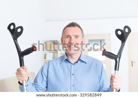 Happy man recovered after legs illness. - stock photo