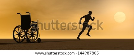 Happy man running up from a wheelchair to the sun - stock photo