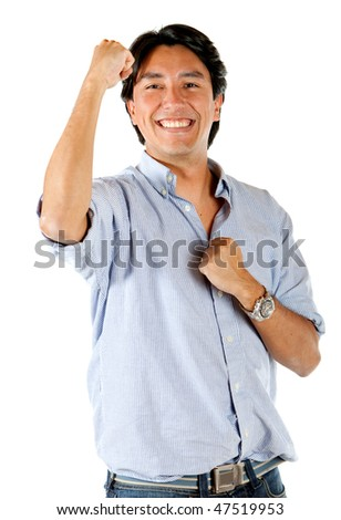 Happy man winning isolated over a white background