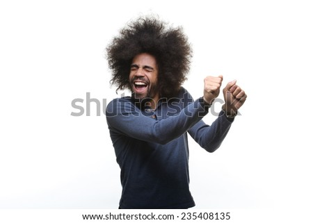 Happy man with an afro - stock photo