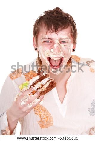 Happy man with cake on birthday. Isolated. - stock photo