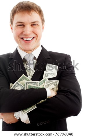 Happy man with dollars. Isolated over white. - stock photo