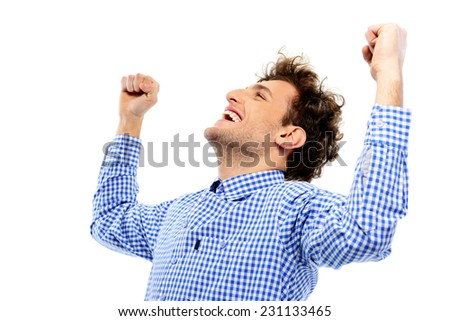 Happy man with raised hands up on a white background - stock photo