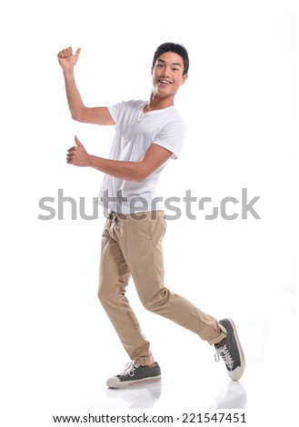 Happy man with thumbs up gesture, - stock photo