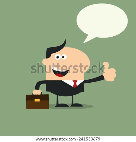 Happy Manager Giving Feedback In Modern Flat Design Raster Illustration With Speech Bubble - stock photo