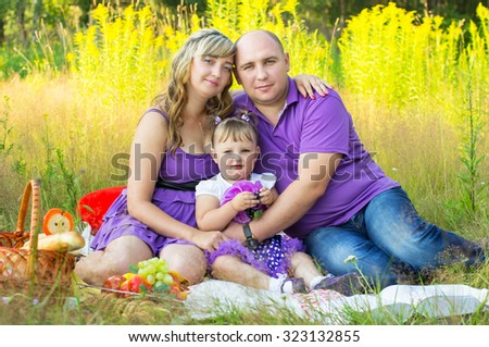 Happy married couple having a picnic - stock photo