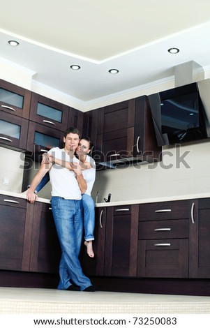 Happy married couple having a rest at home. - stock photo