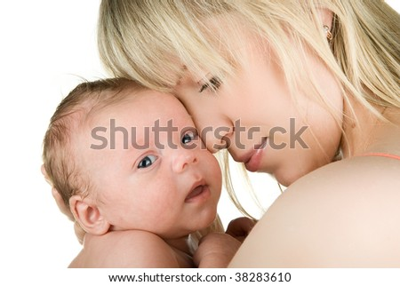 Happy maternity: mother with her  baby boy isolated on a white - stock photo
