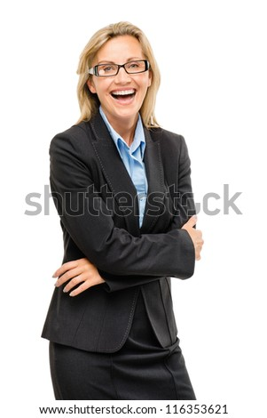Happy Mature business woman confident arms folded - stock photo