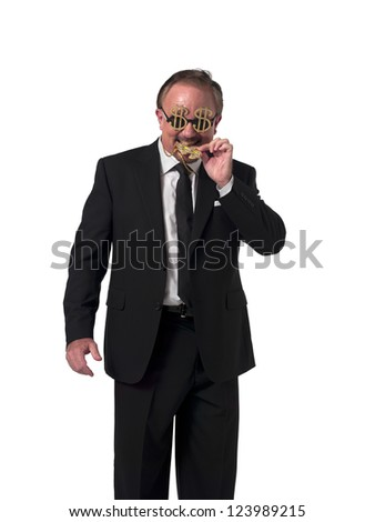 Happy mature businessman biting his dollar necklace while standing over white background - stock photo