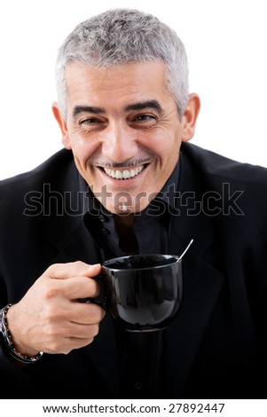 Happy mature businessman drinking tea, smiling, isolated on white background.