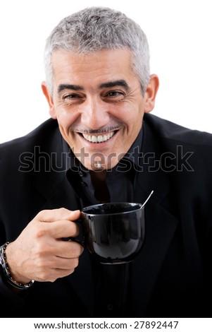 Happy mature businessman drinking tea, smiling, isolated on white background. - stock photo