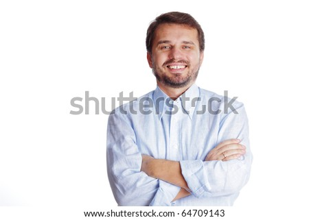 Happy mature businessman with arms folded, isolated over white background - stock photo