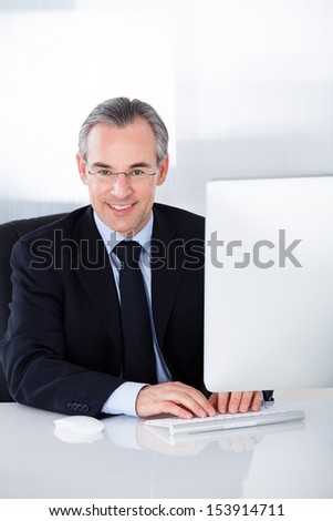 Happy Mature Businessman Working On Computer In Office - stock photo