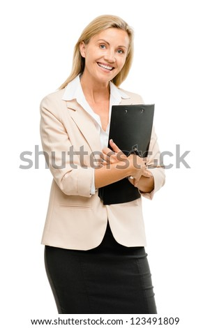Happy mature businsswoman holding clipboard isolated on white