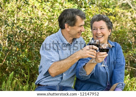 Happy, mature couple celebrating and toasting to the future. - stock photo