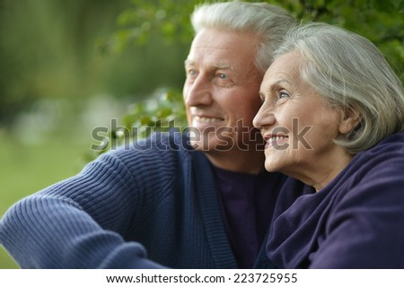 Happy Mature couple dancing in the park in summer day - stock photo