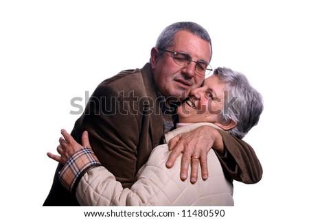 happy mature couple in studio - stock photo