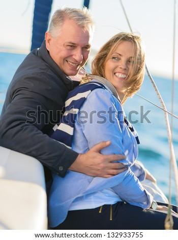 Happy Mature Couple, Outdoors - stock photo