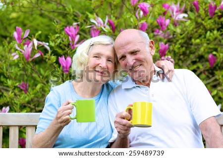 Happy mature family, loving senior couple drinking tea from big colorful mugs sitting on a wooden bench in the garden at the backyard of their house next to blooming magnolia tree - stock photo