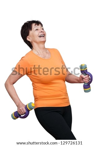 Happy mature fitness woman exercising with barbells - isolated on white - stock photo
