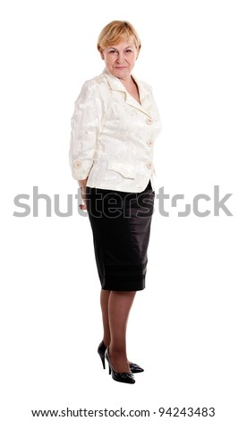 Happy mature lady isolated over white - stock photo