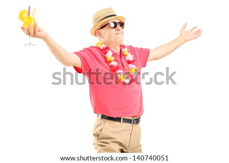Happy mature man on a vacation holding a cocktail and spreading his arms isolated on white background - stock photo