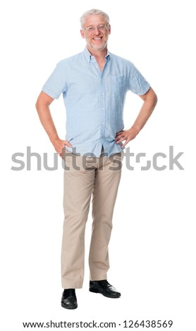 Happy mature man portrait isolated on white background - stock photo