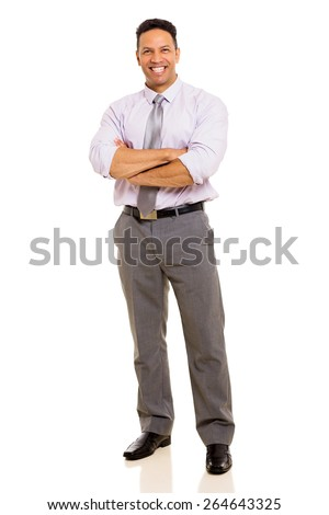 happy mature man with arms crossed isolated on white background - stock photo