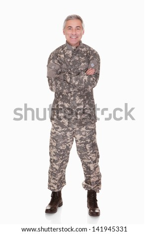 Happy Mature Soldier Isolated On White Background - stock photo