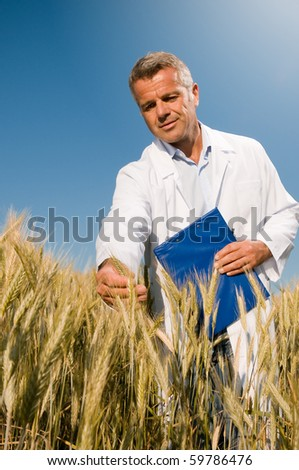 Happy mature technician checking the growth of the wheat for a quality control in a cereal field in summer