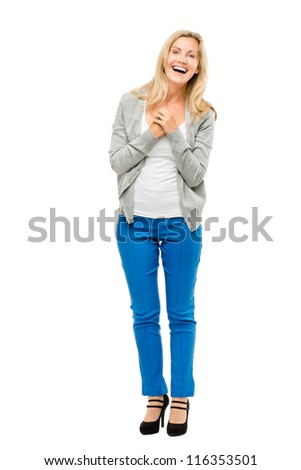 Happy mature woman is in love isolated on white background