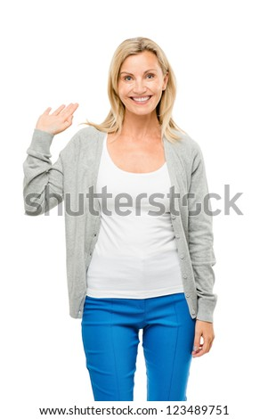 Happy mature woman waving isolated on white background