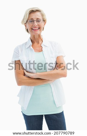 Happy mature woman with glasses on white background