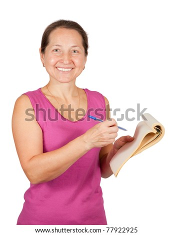 Happy mature woman with notebook over white background - stock photo
