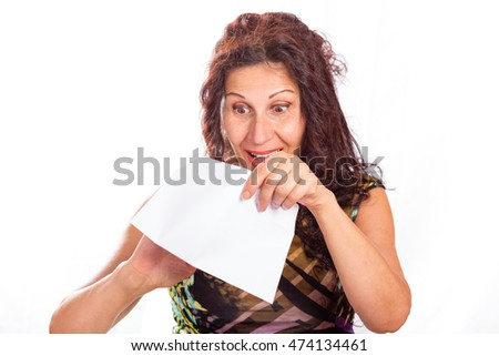Happy mature woman with wrinkles and aging skin opening white envelopes