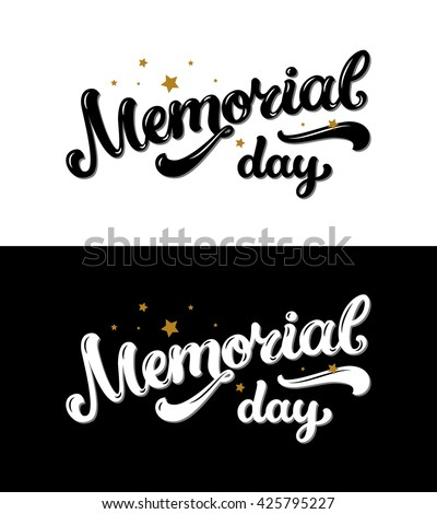 Happy Memorial Day, Text With Stars, Gold And Black Colors On Black And  White