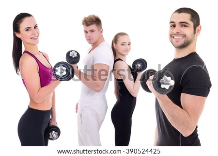 happy men and women in sportswear doing exercises with dumbbells isolated on white background - stock photo