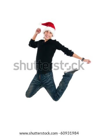 happy men in santa's hat jump - stock photo