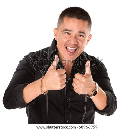 Happy Mexican-American man cheers with thumbs up - stock photo