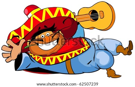 Happy mexican man with a guitar. - stock photo