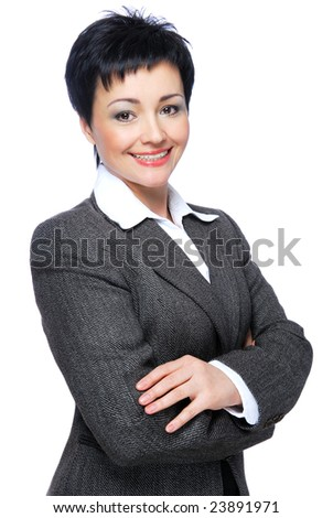 Happy mid adult businesswoman with crossed-arms - on a white background - stock photo
