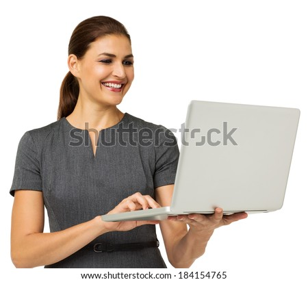 Happy mid adult businesswoman working on laptop isolated over white background. Horizontal shot.