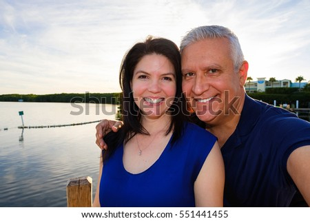 Happy middle age couple selfie enjoying the outdoors in the Florida Keys.