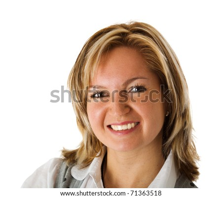 Happy Middle age woman portrait isolated on white - stock photo