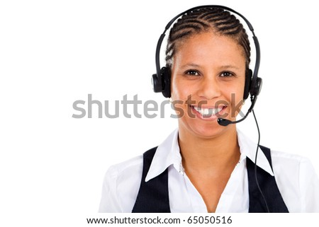 happy middle aged african american businesswoman with headset smiling - stock photo